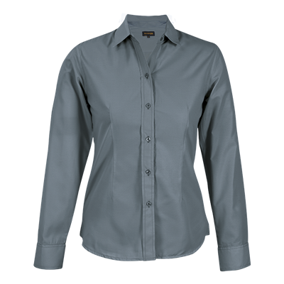 Ladies Easy Care Blouse Long Sleeve  Grey Size Small
