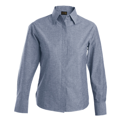 Ladies Oxford Blouse Long Sleeve  Navy Size 3XL
