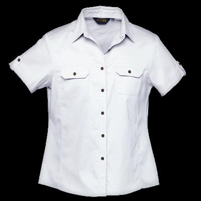 Ladies Plain Bush Shirt  White Size 3XL