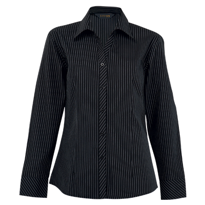 Ladies Quest Long Sleeve Blouse  Black/White Size Large