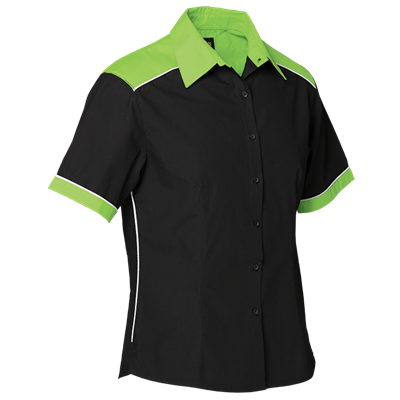 Ladies Racing Pit Shirt  Lime/Black Size Small
