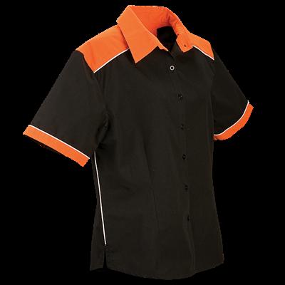 Ladies Racing Pit Shirt  Orange/Black Size 4XL
