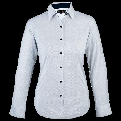 Ladies Richmond Lounge Shirt Long Sleeve  White/Navy Size Medium
