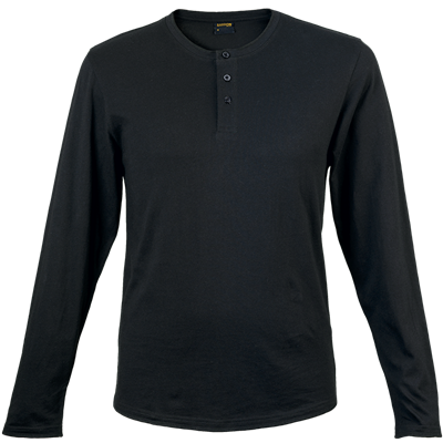 Mens 145g Henley Long Sleeve T-Shirt Black Size Medium