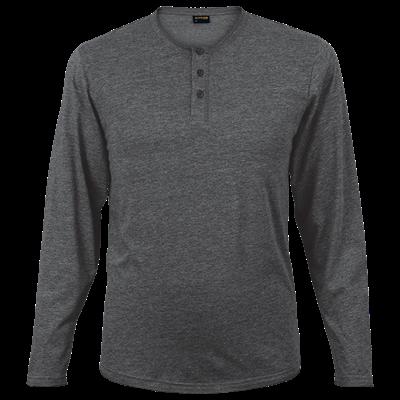Mens 145g Henley Long Sleeve T-Shirt Charcoal Size 4XL