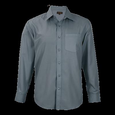 Mens Easy Care Lounge Shirt Long Sleeve  Grey Size Medium