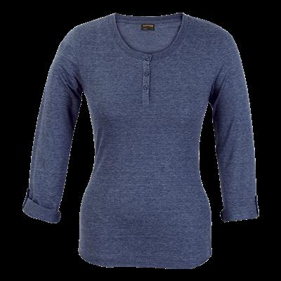 Ladies 145g Henley Long Sleeve T-Shirt Navy Size 3XL