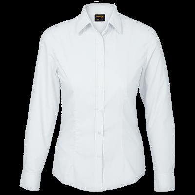 Ladies Basic Poly Cotton Blouse Long Sleeve  White Size 4XL