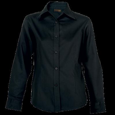 Ladies Brushed Cotton Twill Blouse Long Sleeve  Black Size XL