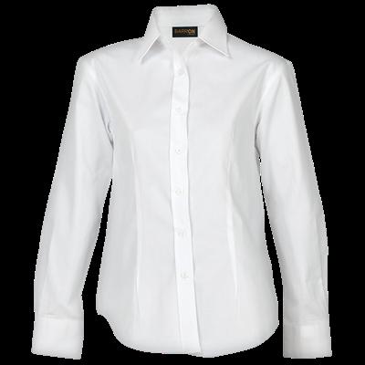 Ladies Brushed Cotton Twill Blouse Long Sleeve  White Size 4XL