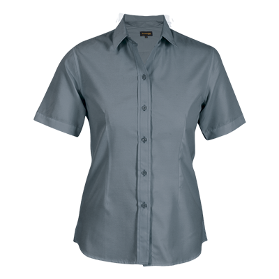 Ladies Easy Care Blouse Short Sleeve  Grey Size Medium