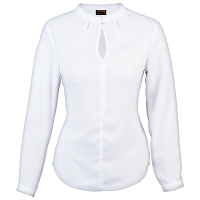 Ladies Jasmine Blouse Long Sleeve  White Size Small