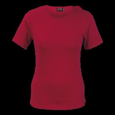Ladies Organic Cotton Crew Neck T-Shirt Red Size 2XL