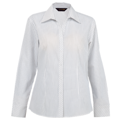 Ladies Quest Long Sleeve Blouse  White/Black Size Small