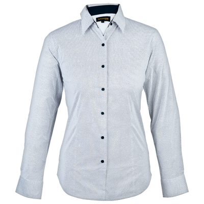 Ladies Richmond Lounge Shirt Long Sleeve  White/Navy Size 2XL