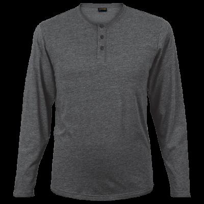 Mens 145g Henley Long Sleeve T-Shirt Charcoal Size Medium