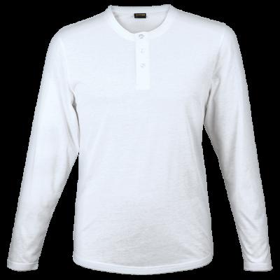 Mens 145g Henley Long Sleeve T-Shirt White Size Medium