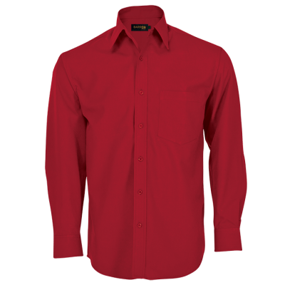 Mens Basic Poly Cotton Lounge Long Sleeve  Red Size 4XL