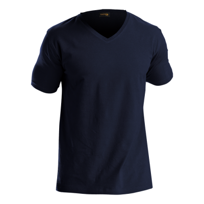 Mens 170G Slim Fit V-Neck T-Shirt Navy Size XS