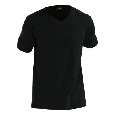 Mens 170G Slim Fit V-Neck T-Shirt Black Size 5XL