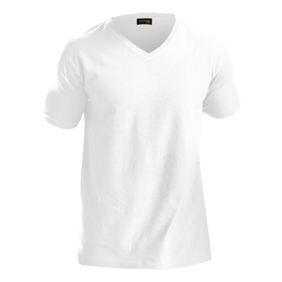 Mens 170G Slim Fit V-Neck T-Shirt White Size 5XL