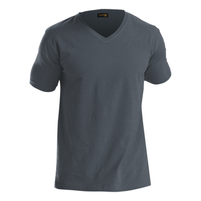 Mens 170G Slim Fit V-Neck T-Shirt Grey Size 5XL