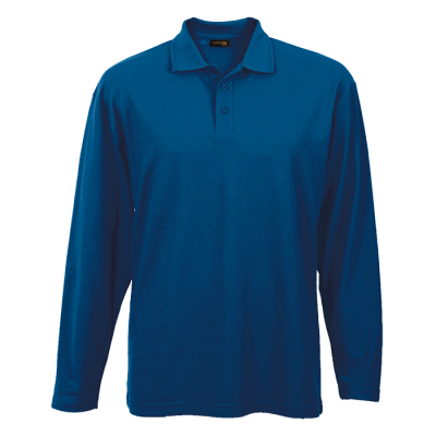 Mens 175G Pique Knit Long Sleeve Golfer Royal Size Small