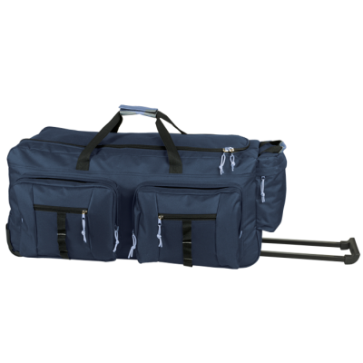 Dual Front Pocket Rolling Travel Duffel Navy