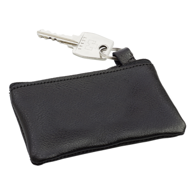 Leather Zippered Pouch with Split Ring Black