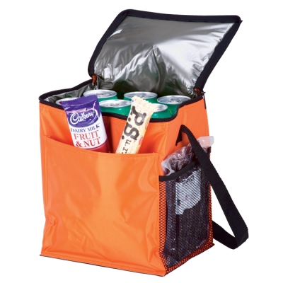 12 Can Cooler With 2 Exterior Pockets Peva Lining Orange
