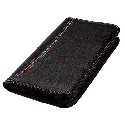 Tribal Stripe Zippered Passport Wallet Black