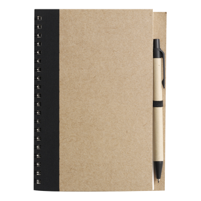 Recycled Spiral Notebook and Pen Black