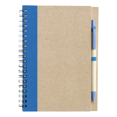 Recycled Spiral Notebook and Pen Pale Blue
