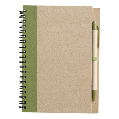 Recycled Spiral Notebook and Pen Pale Green