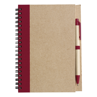Recycled Spiral Notebook and Pen Red