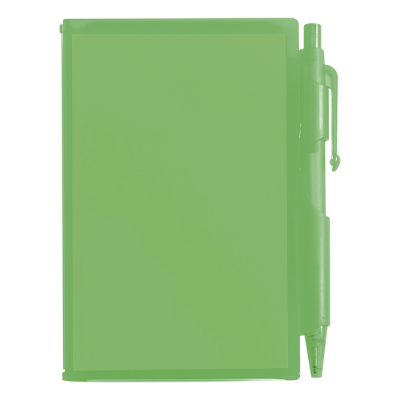 Notebook and Pen in Plastic Case Green