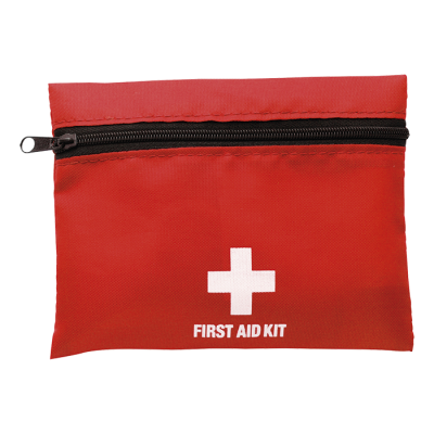 First Aid Kit In Zippered Pouch With Belt Clip Red