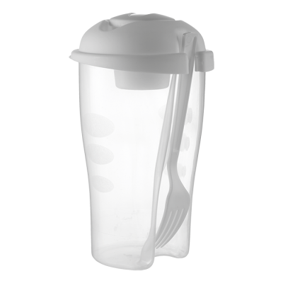 Salad Shaker With Salad Dressing Container And Fork White
