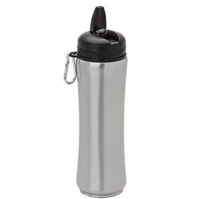 750Ml Stainless Steel Bottle With Carabiner Silver