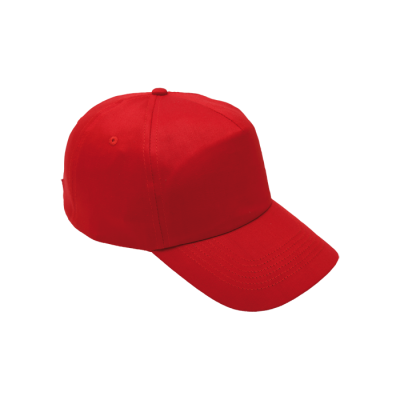 5 Panel Cotton With Hard Front Cap Red