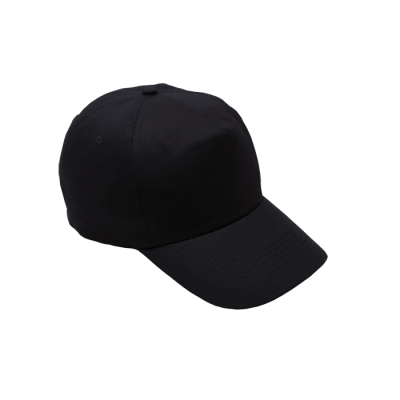 5 Panel Cotton With Hard Front Cap Black