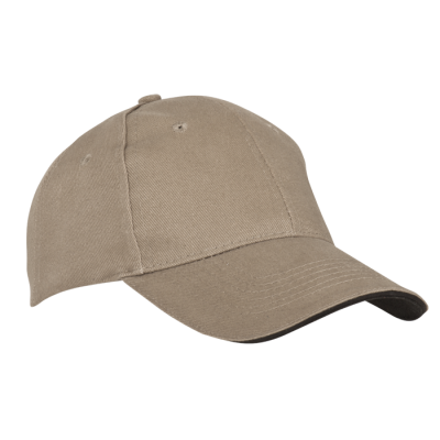 6 Panel Sandwich Peak Cap Khaki/Black