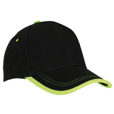 6 Panel Canvas Binding Cap Black/Lime