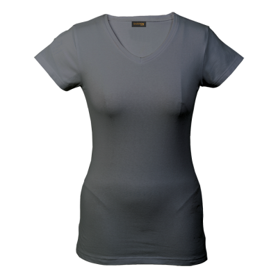 Ladies 170G Slim Fit V-Neck T-Shirt Grey Size 3XL