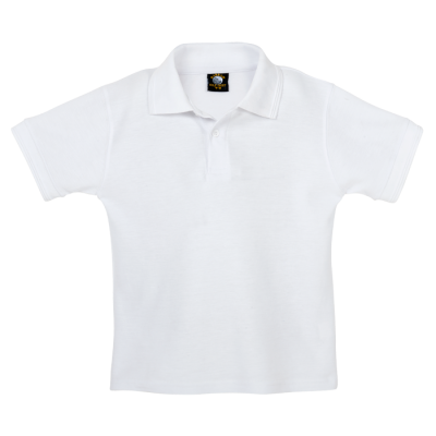 175G Kiddies Pique Knit Golfer White Size 7 to 8