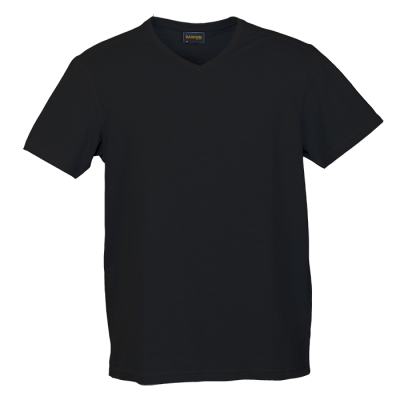 Mens Slub V Neck T-Shirt Black Size Small