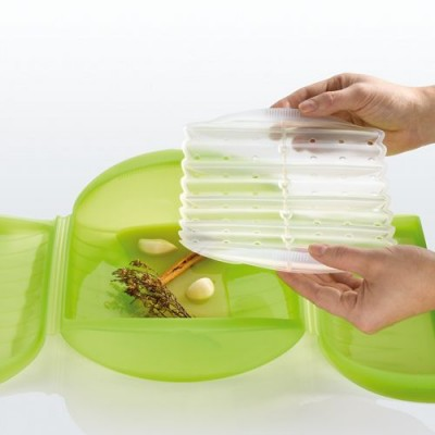 Lekue Steam Case With Draining Tray 3 4 Person Green