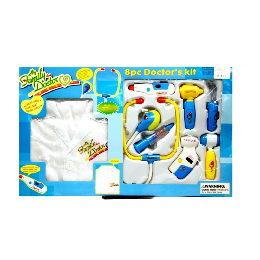 Electronic Doctor Set Blue With Uniform 8 Piece