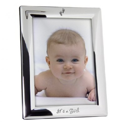 Elegant Baby Christening Silver Plated Frame It'S A Girl