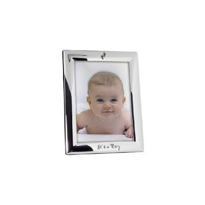 Elegant Baby Christening Silver Plated Frame It'S A Boy